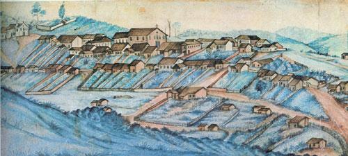 Itatiba por volta de 1860. Aquarela de Miguelzinho Dutra cujo original encontra-se no Museu Republicano de Itu.